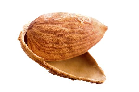 Almonds in shell isolated on white photo