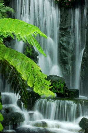 background waterfalls: Japanese Zen Garden Waterfalls in slow shutter.