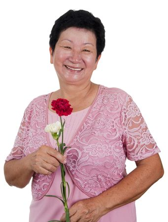 Happy Senior Asian Woman with carnation flower Stock Photo - 4790606