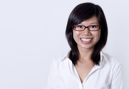Young Asian college student with her smiling face.