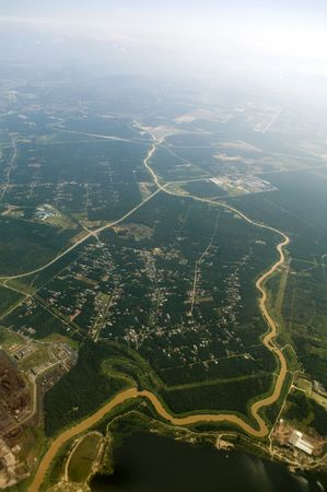Aerial view over a rural area at Malaysia. photo