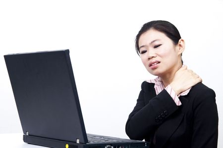 bare shoulders: Office lady having backache after too much work.