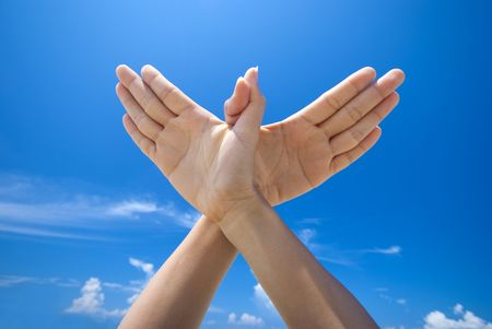 Conceptual hand gesture of world peace Stock Photo
