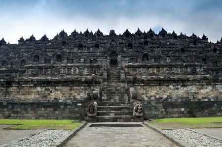 borobudur: Borobudur Ruins at Yogyakarta, Central Java, Indonesia. Stock Photo