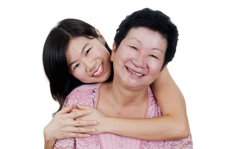 mom daughter: Happy Asian Family. Daughter hugging her mother.