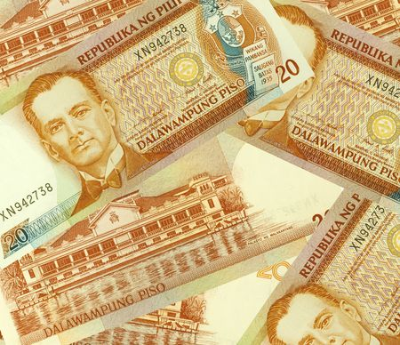 Philippine Money Peso Banknotes background. photo