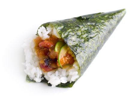 appetiser: Hand rolled temaki sushi traditional japanese cuisine isolated on white.