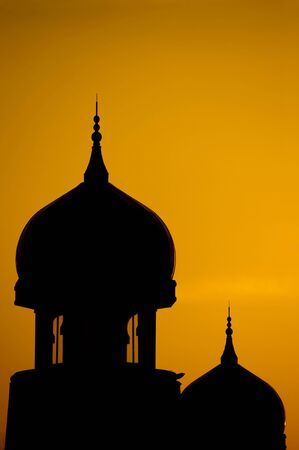islamic wonderful: Silhouette of a mosque in sunset.