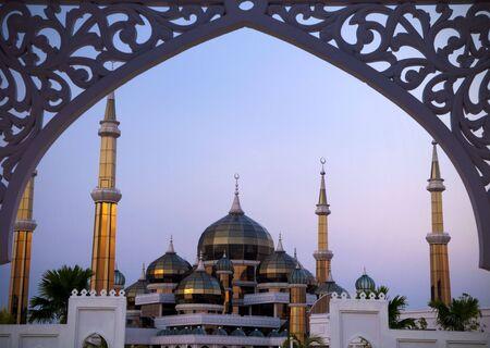 terengganu: Crystal Mosque or Masjid Kristal in Kuala Terengganu, Terengganu, Malaysia, Asia during sunset. Stock Photo