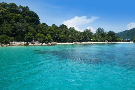 redang: Blue beach at Pulau Perhentian, Malaysia. Stock Photo