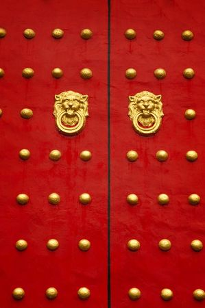Typical Chinese door in a Temple in Taiwan. photo