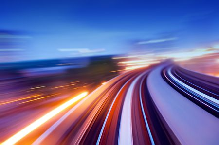 Abstract view on elevated highway, speeding concept. Stock Photo - 5351055