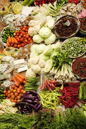 Asian fresh vegetables market at Kelantan State, Malaysia. photo