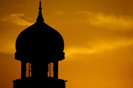islamic wonderful: Mosque silhouette landscape during sunset.