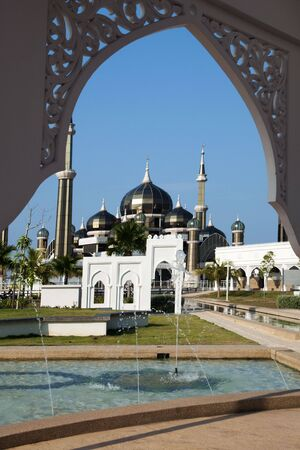 islamic wonderful: Crystal Mosque or Masjid Kristal in Kuala Terengganu, Terengganu, Malaysia, Asia during sunset.  Stock Photo