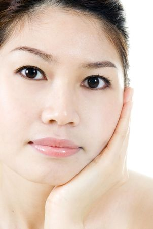 Close up isolated portrait of Asian beauty. photo