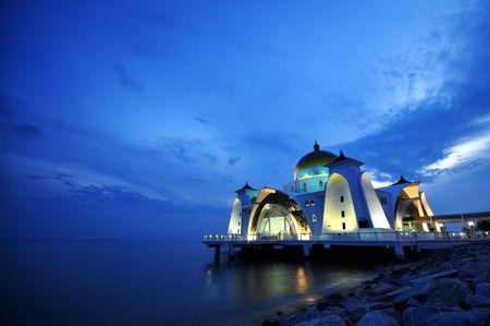 The Selat Melaka Mosque at Melaka, Malaysia in dusk.