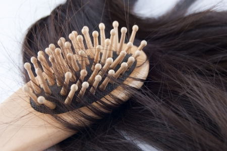 Close-up of a hairbrush with lost hair in it isolated on white. photo