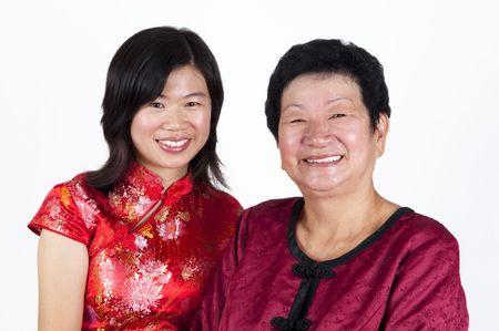 Portrait of happy Asian Chinese Mother and Daughter. photo