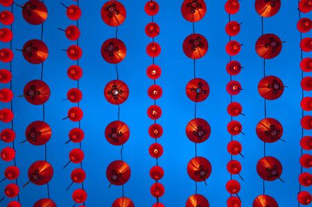Red Chinese lanterns display, taken at the Chinese New Year celebrations. Red is lucky colour for Chinese photo