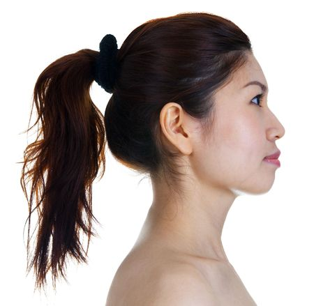 face and shoulders: Profile view of Asian Beauty. Stock Photo