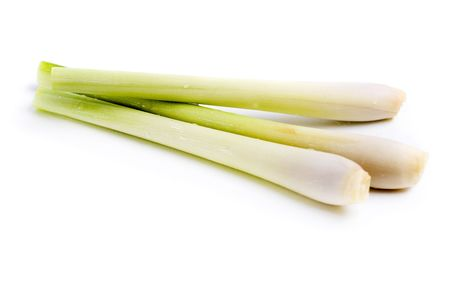 Fresh Lemon Grass on white background photo