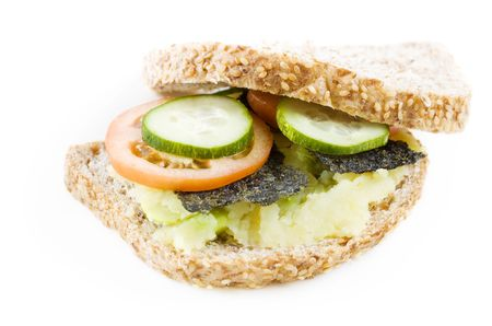 Healthy vegetarian sandwich isolated on white background. photo