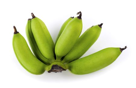unripe: A bunch of unripe bananas on white background. Stock Photo