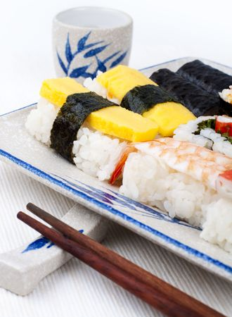 Sushi traditional japanese cuisine on plate and cup of green tea. photo