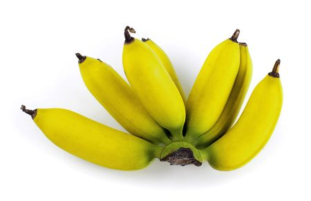 A bunch of ripe banana isolated on white background. photo