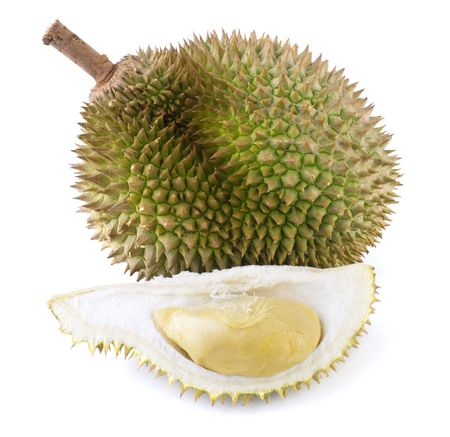 spiky: Tropical fruit - Durian isolated on white background.