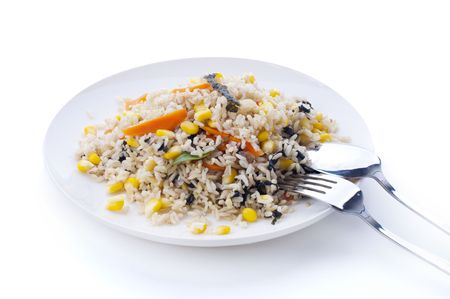 Delicious Vegetarian Fried Rice, containing carrot, corn, seaweed, and basil. photo