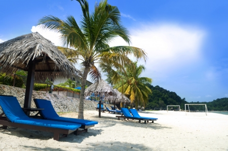 pahang: Deck chairs on Teluk Chempedak, Malaysia.