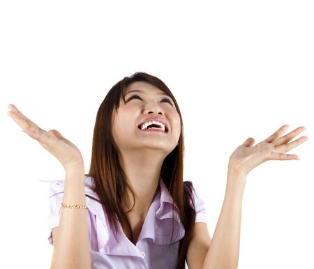 asian office lady: Happy Asian woman looking up and arms out, isolated on white.