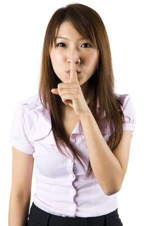 imbavagliare: Asi�tiche gesturing su sfondo bianco.