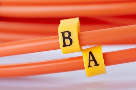 fibre optic: Close up Fibre Optic Network Cables. Stock Photo