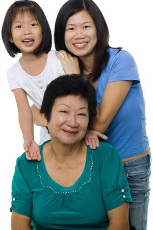 three generations of women: Asian family, grandmother, mother and daughter. Stock Photo
