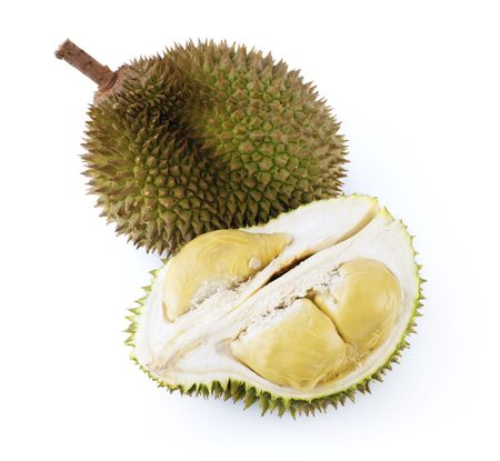 King of fruits durian on white background photo