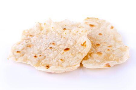 grapa: India alimento elaborado con harina de trigo, de pan sin levadura tradicional para comer con curry.  Foto de archivo