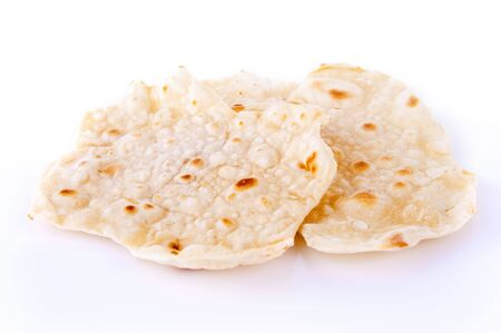 unleavened: Indian staple food made of wheat flour, traditional unleavened bread to eat with curry. Stock Photo