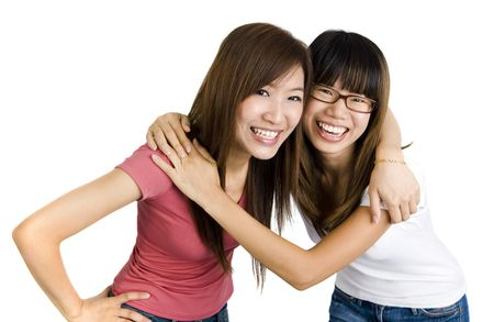 shoulder: Young Asian college people on white background