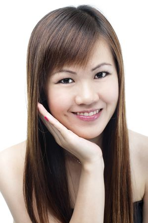Lovely Asian female smiling on white background photo