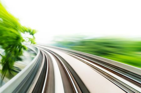 high speed train: Motion blurred on speeding sky train. Stock Photo
