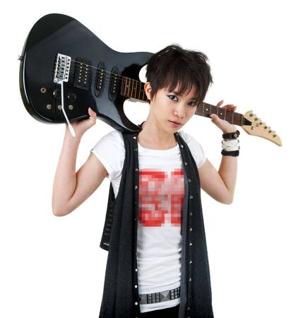 Asian rockstar with guitar isolated on white photo