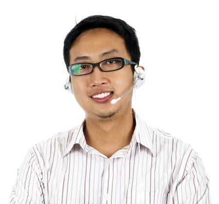 Asian customer support isolated on white background. photo