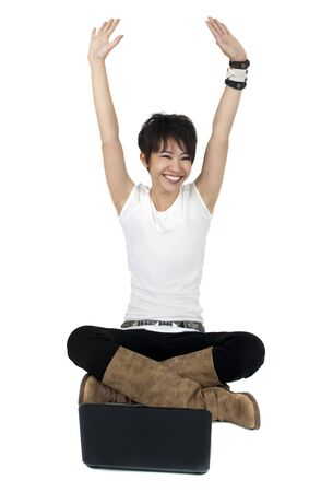 computer user: Full body of a happy computer user isolated on white. Stock Photo