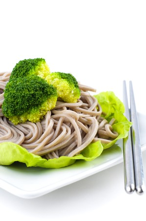 buckwheat noodle: Japanese Vegetarian Soba Noodles on White Plate
