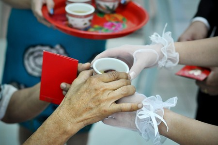 traditional custom: Chinese wedding tea ceremony serving to elders.