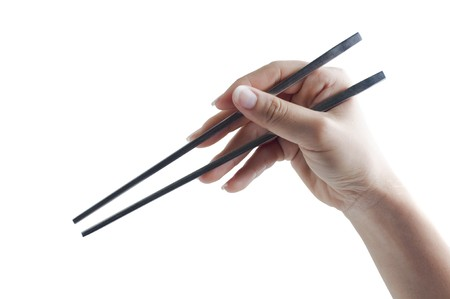 Hand holding a pair of chopsticks, isolated on white background. photo