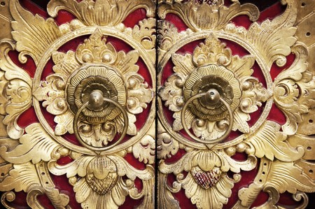 wood carving: Ornate Entrance Door To Temple In Bali.